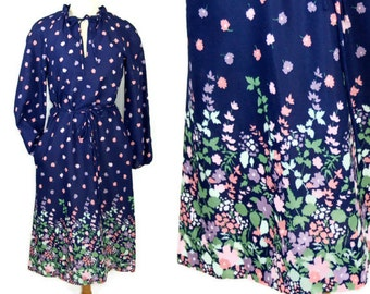 1970s dress, floral dress, boho dress, peasant dress, blue pink green, Tanner, Size 8, Size M