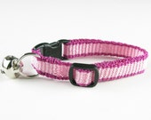 Cat Collar Kitten Collar Hand Woven Raspberry and Pink Stripe Breakaway Kitty Collar