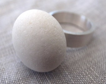 white beach rock ring - wide sterling band