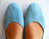 MAYA - Ballet Flats - Suede Shoes - 39 - Grayed powder Blue. Available in different colours & sizes