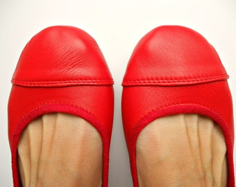 LUNAR- Ballet Flats - Leather Shoes - 38 - Cherry Red. Available in different colours & sizes
