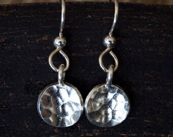 Silver Dangle Earrings, Hammered Disk Silver Earrings, Small Silver Earrings