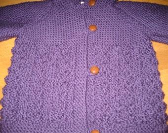 Child Hooded Jacket Size 2 , Child Size 4 Jacket, Child Wool Jacket, Toddler Blue Jacket, Child Purple Sweater, Toddler Cream Jacket