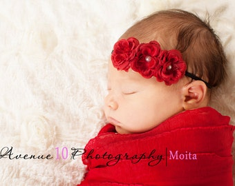 Newborn Girl Headband, Red Rose Flower Headband, Baby Girl Headbands, Dainty Baby Headband, Newborn Photo Props, Christmas Baby Props