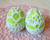 Crochet Lace Covered Plastic Egg Set of 2
