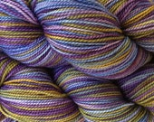 Fingering Weight Hand Painted Merino Wool Sock Yarn in Violet Park Purple Olive