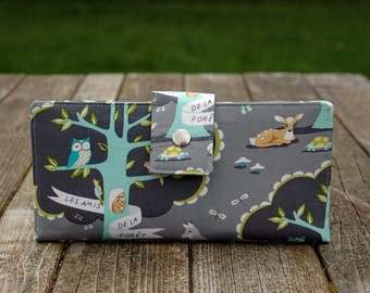 Handmade womens wallet  clutch vegan woodland friends