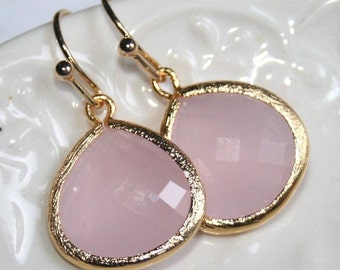 Pink drop Earrings,Valentines gift,Pink jewellery,Pink glass drop bezel set Earrings,Wedding Earrings,Birthday Gift,Pink Bridal jewelry