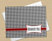 Houndstooth Plaid -  Set of 8 CUSTOM Personalized Flat Note Cards/ Stationery