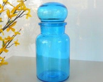 Vintage Blue Glass Apothecary Jar, Belgium Bubble Top