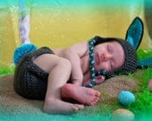 Ready to SHIP   Crocheted Baby  Grey Easter Bunny Hat and Diaper Cover set