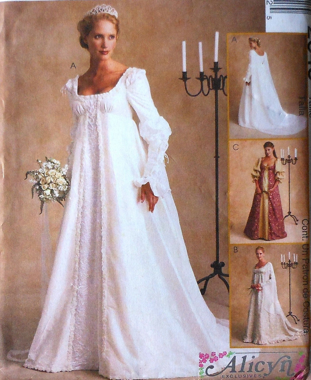Renaissance style wedding gown sewing pattern uncut mccalls for Medieval style wedding dress