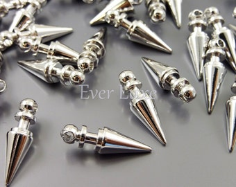 8 spike bullet charms in bright silver finish for necklaces bracelets earrings / jewelry making supply / crafts 1879-BR (silver, 8 pcs)
