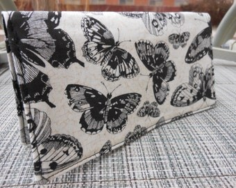 Fabric Checkbook Cover - Butterfly Black on cream