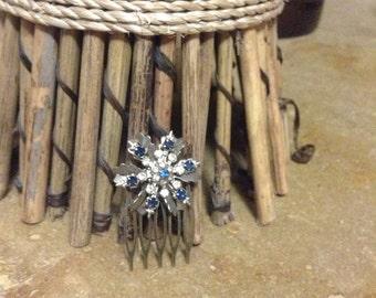 Blue Rhinestone Flower Spray vintage Upcycled hair comb, wedding, something blue
