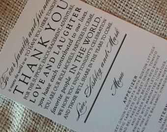 Wedding Menu Card - Thank You Design - your choice of colors - Shimmer Cardstock - Sample