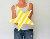 Star Home Decor /  Whimsical Home Decor / nursery decor / Yellow and White stripes / Bamboo and concrete / wall art