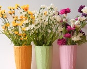 Trio of Vases / Instant collection / Garden Collection / set of 3 / mustard yellow, pink, green vase