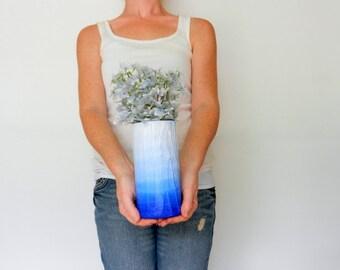 Blue ombre Vase / blue home decor / handcrafted vase / blue flower vase / cylinder vase