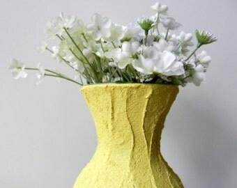 Yellow Vase /yellow  home decor / Bright yellow Vase / Flower vase / sweetheart vase