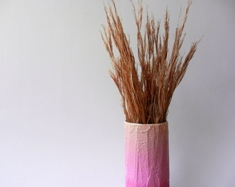 ombre Peach into Pink Vase / ombre peach home decor /  handcrafted vase / pink flower vase / ombre housewares