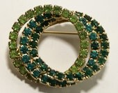 Vintage Circle Trio Emerald Teal Apple Green Sparkling Rhinestone Brooch Bouquet Med Men