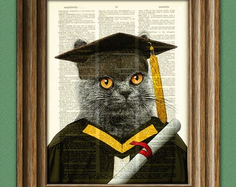 Graduation Cat with cap, gown and diploma beautifully upcycled dictionary page book art print
