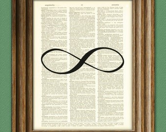 Infinity Symbol forever Art Print beautifully upcycled dictionary page book art print 8.5 x 11