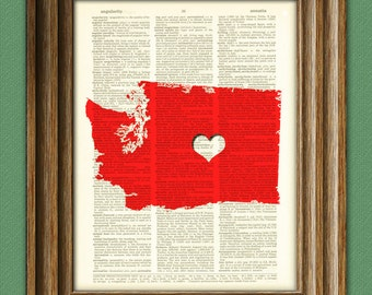 My Heart is in Washington state map awesome upcycled vintage dictionary page book art print