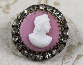 Pink and White Rhinestone Circle Cameo Brooch