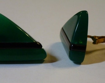 Vintage Geometric Black and Green Triangle Clip On Earrings