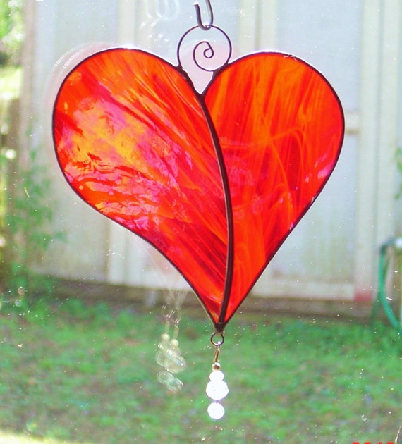 Whimsical Iridescent Red Stained Glass Heart with Crystal Charm and Metal accent