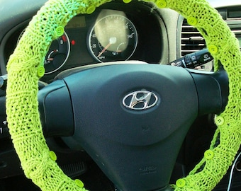 Cotton Steering Wheel Cover (Lime Green) with safety rubber backing - machine washable