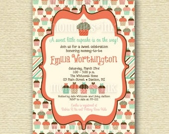 Vintage Cupcakes Sweet Celebration Baby Shower Invitation - PRINTABLE INVITATION DESIGN