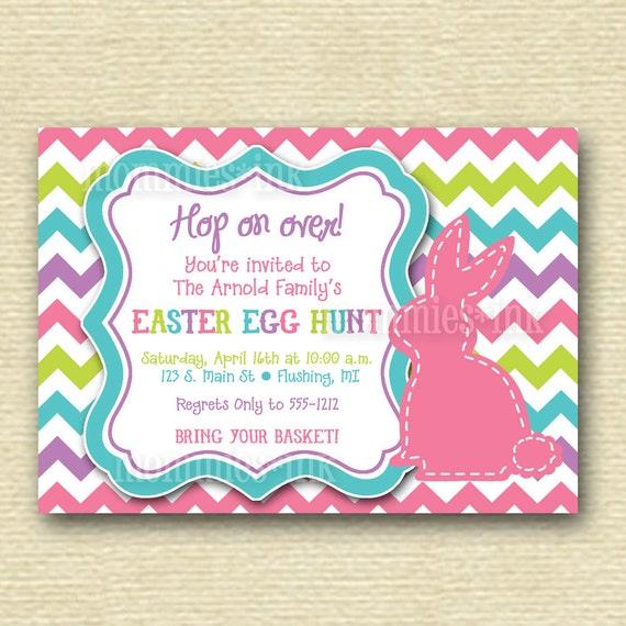 Chevron Stitched Bunny Rabbit Easter Egg Hunt Invite - PRINTABLE INVITATION DESIGN