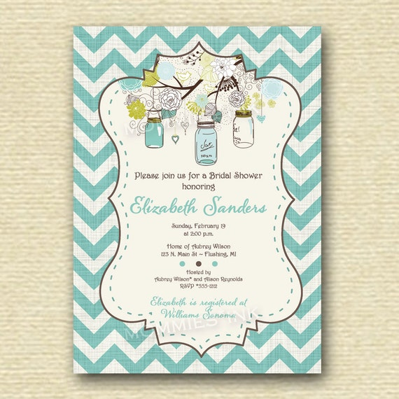 ... Mason Jar and Flowers Bridal Shower Invitation - PRINTABLE INVITATION