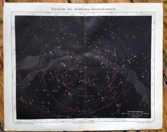 1894 ANTIQUE MILKY WAY lithograph star map original antique celestial astronomy print - black background