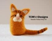 Needle Felting Kitty Kit, complete cat animal wool fiber kit for beginners
