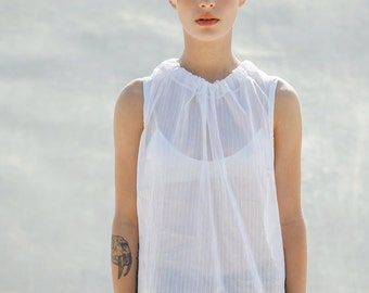 Silk Cotton Chiffon white stripes blouse with tying, elegant summer white top, silk strips white blose