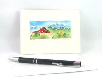 Original Watercolor Card Red Barn
