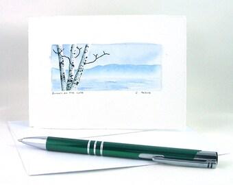 Original Birch Tree Watercolor Painting Art Card