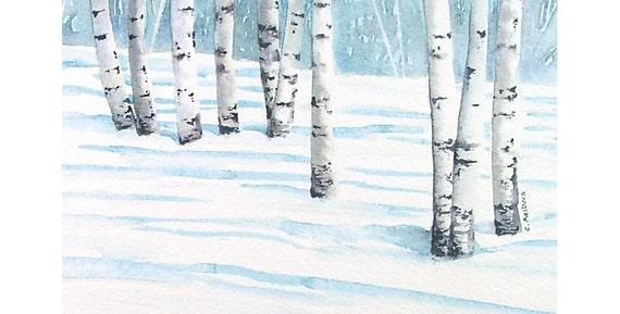 winter landscape birch tree watercolor 4 x 6 inches original