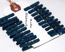 Monaco Blue Mini Clothespins, 4 Sizes, Wedding Favors, Party Favors, Gift Wrap, Crafts, Photo Clips, Party Supplies, Card Clips