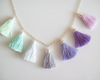Northern Lights Pastel Tassel Necklace