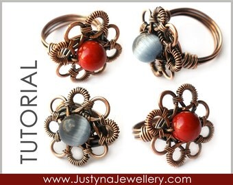 Wire Jewelry Tutorial, Wire Ring Tutorial, Wrapping Tutorial, Jewelry Instructions, Flower Ring Tutorial, Wirewrapped Ring Pattern