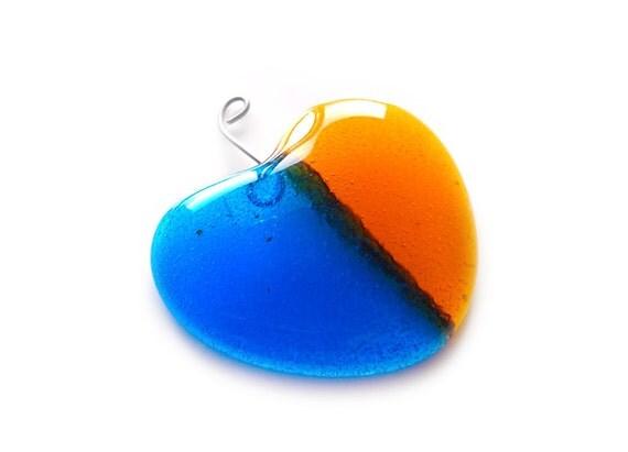 Heart Sun Catcher, Blue and Orange, Bright, Fused Glass