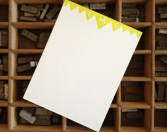 Personalized Letterpress Stationery - Set of 25 Note Cards with envelopes