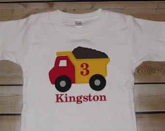 Personalized Birthday Shirt Dump Truck Number SHORT SLEEVE