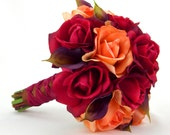 Fall Wedding Bouquet Autumn Bridal Roses Calla Lilies Red Orange Brown Purple Real Touch Flowers
