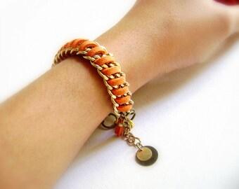 B ohemian stacking bracelet  trendy orange faux suede leather golden multiple chains - vegan bracelet stacked bracelet - friendship - Hazard